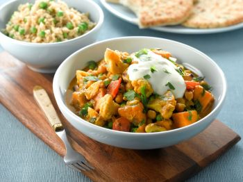 What about a Vegetable & Chickpea Korma with Spicy Rice