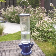 If you haven't got a lot of space in your garden, you could treat the birds to a water feeder like this one - it takes up very little room