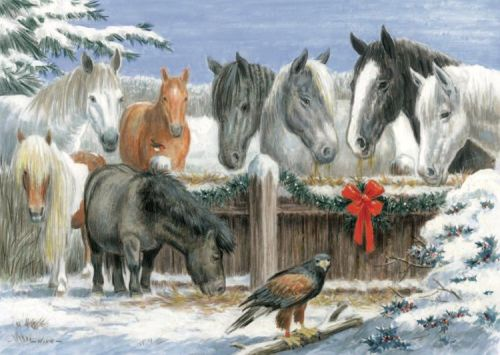 Northcote's Christmas Lunch card features some  of their own horses and animals