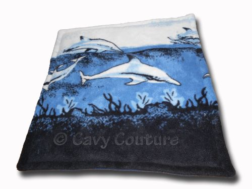 <!--006--> Blanket - Dolphins and Navy fleece