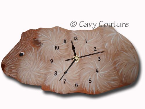 <!--002--> Hand painted wooden  Ginger Abyssinian Guinea Pig Wall clock