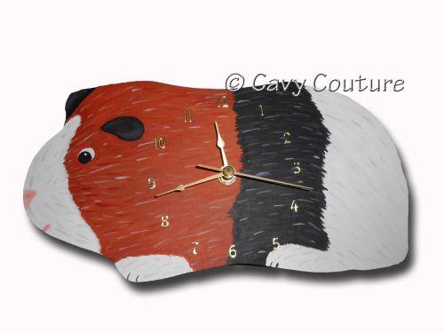 <!--001--> Hand painted Wooden Guinea Pig Wall clock - Tricolour Piggy #1