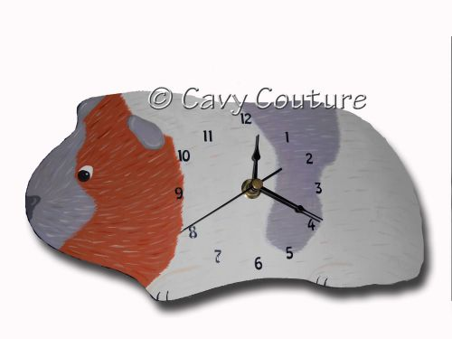 <!--001--> Hand painted Wooden Guinea Pig Wall clock - Tricolour Piggy #2