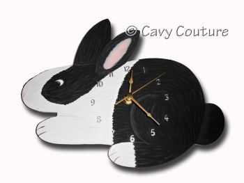 Hand painted Wooden Rabbit Wall clock - Black and white Dutch