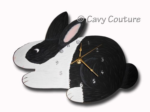 <!--001--> Hand painted Wooden Rabbit Wall clock - Black and white Dutch