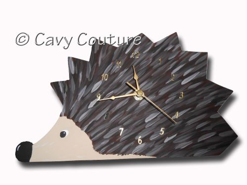 <!--001--> Hand painted Wooden Hedgehog Wall clock