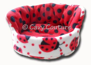 Medium Double fleece Cuddler Bed - Cream Ladybirds and Red/Black spotty