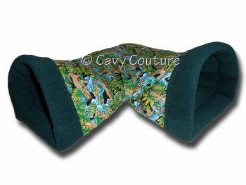 Medium Corner snuggle Tunnel - Comical Crocs cotton and Bottle Green  fleece
