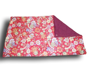 Large Rectangular Hammock - Red Flowers cotton and Wine Fleece