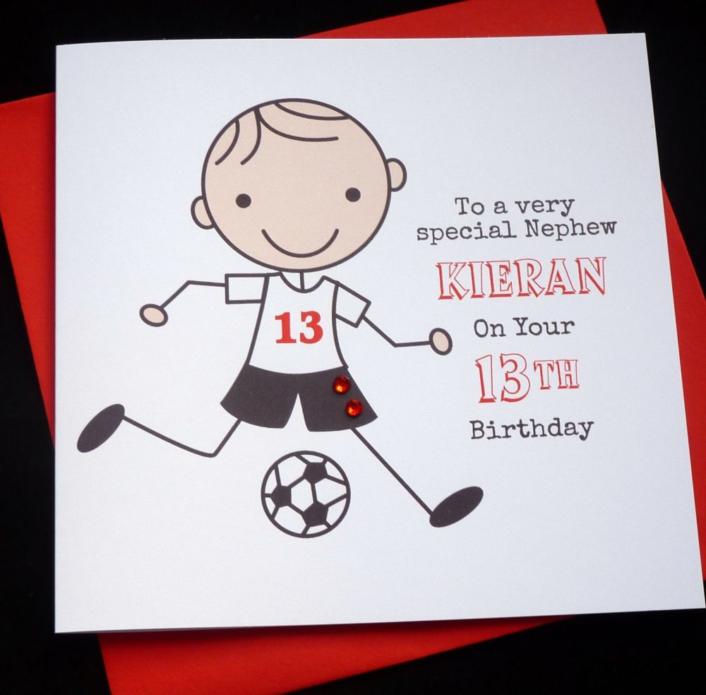 Footballer Birthday Card (red)