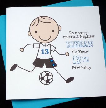 Footballer Birthday Card (blue)