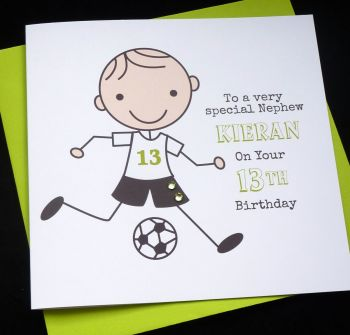 Footballer Birthday Card (green)