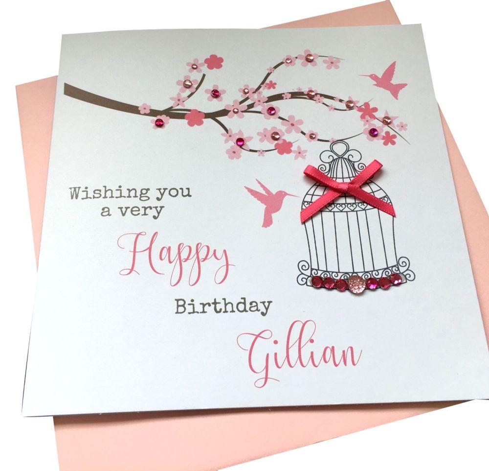 Birdcage and blossom Birthday Card