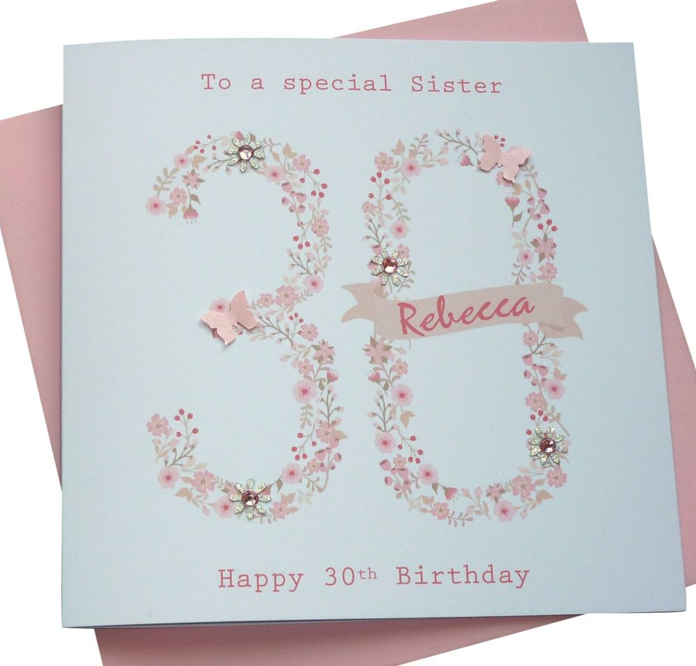 floral pink age birthday card- any age