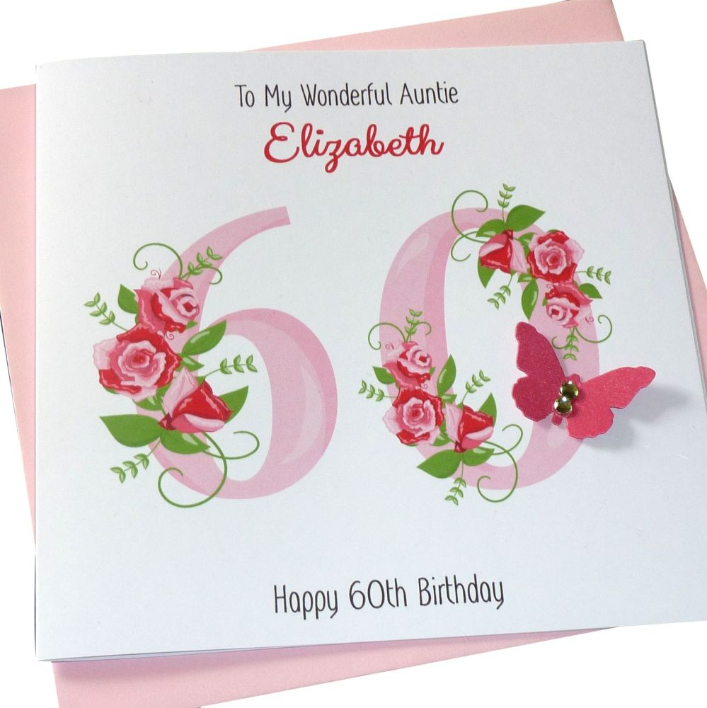 Floral Pink Birthday Number Card - Any Age