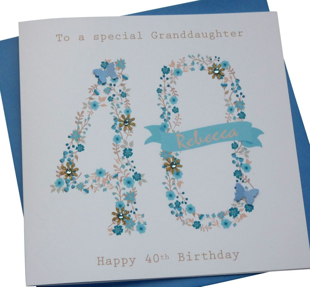 floral blue age birthday card- any age
