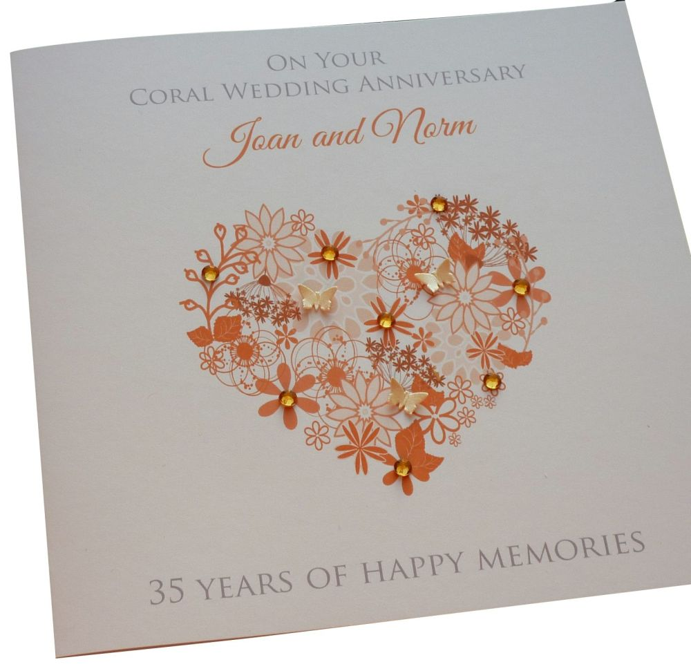 Coral Anniversary Floral Heart