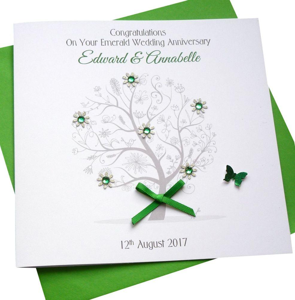 Emerald / 55th Wedding Anniversary Tree Card