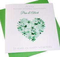Emerald Anniversary Floral Heart