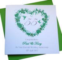 Emerald Wedding Anniversary Heart Card