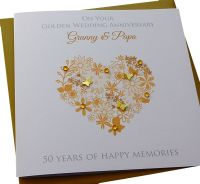 Gold Anniversary Floral Heart