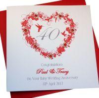 Ruby Wedding Anniversary Heart Card