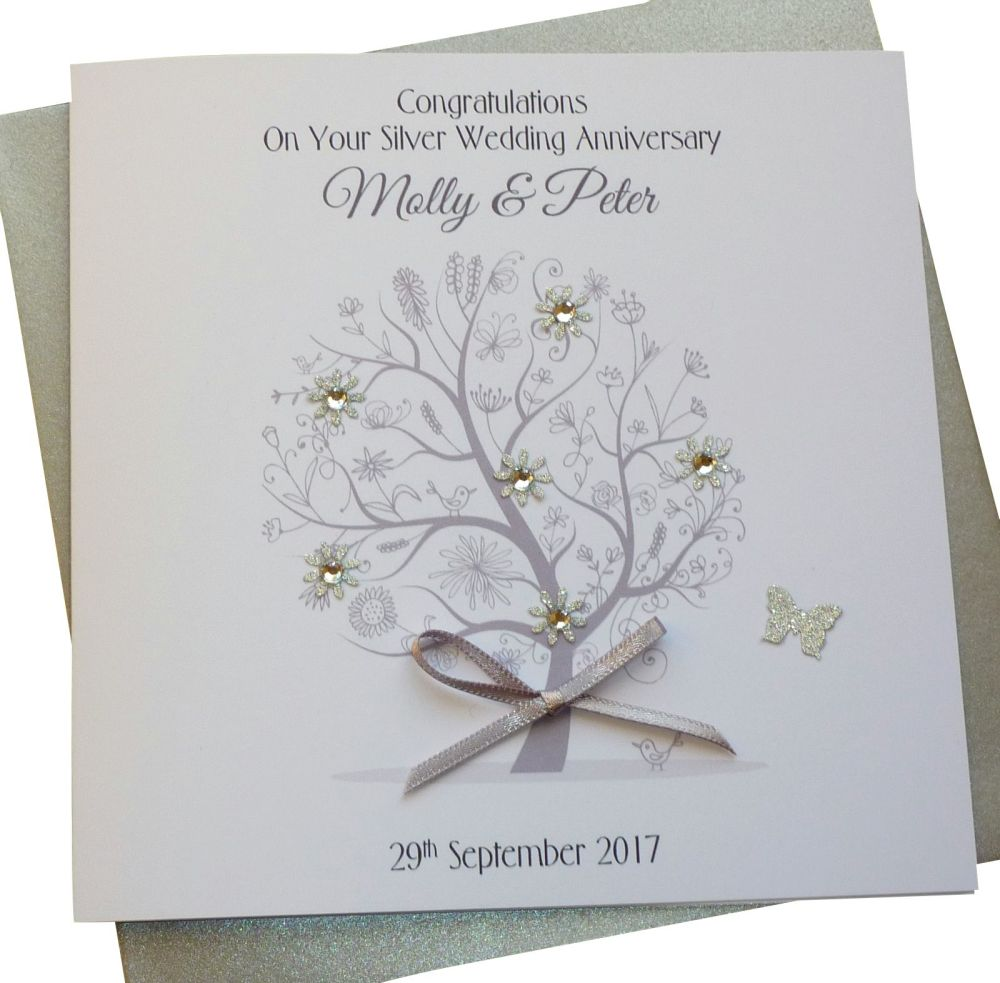 Silver/ 25th Wedding Anniversary Tree Card