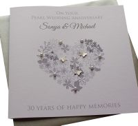 Pearl Anniversary Floral Heart
