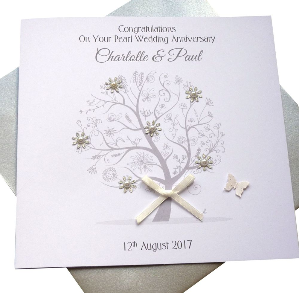 Pearl / 30th Wedding Anniversary Tree Card