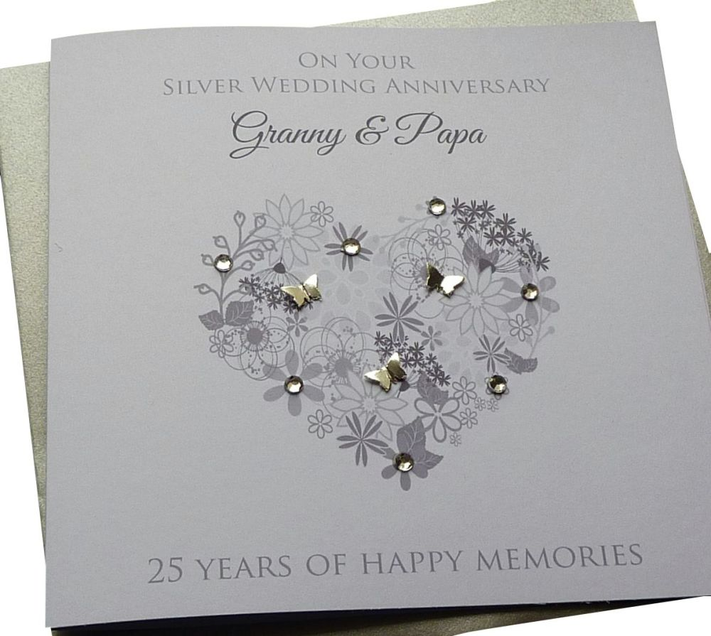 Silver Anniversary Floral Heart