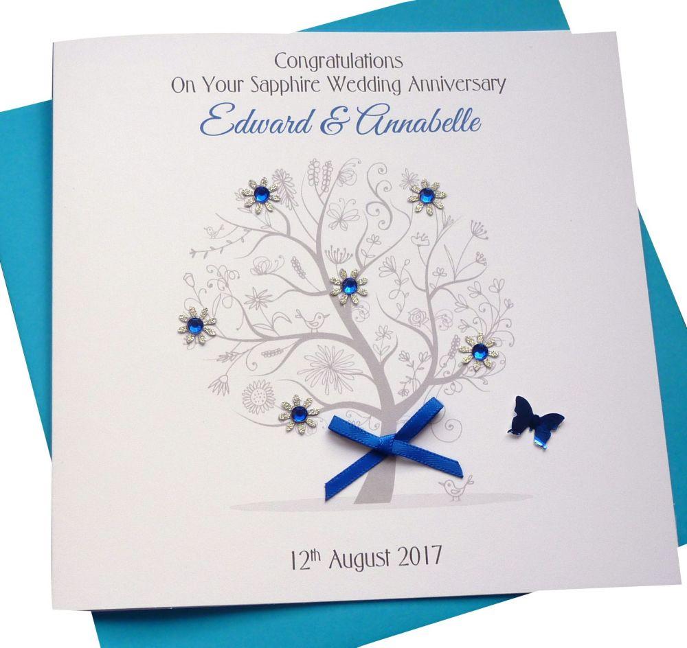 Sapphire / 55th Wedding Anniversary Tree Card