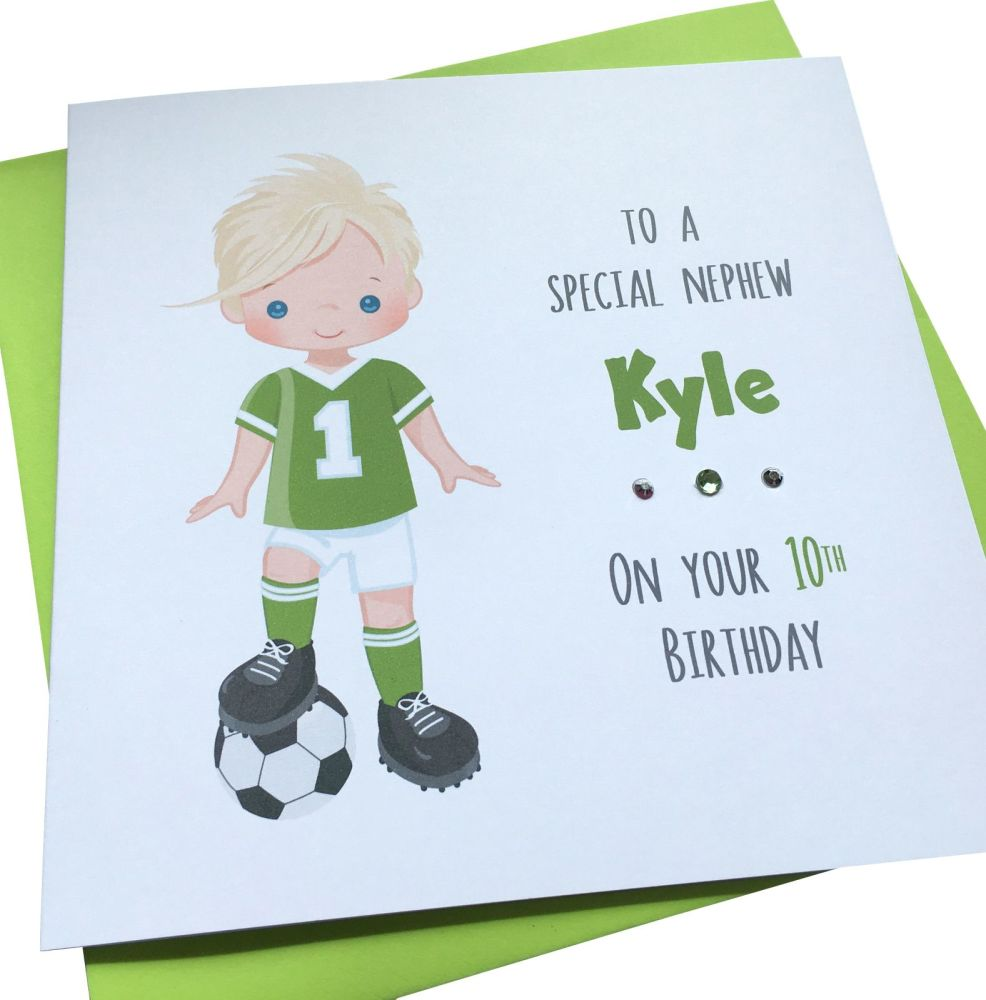 Footballer Birthday Card (green kit/ blond )