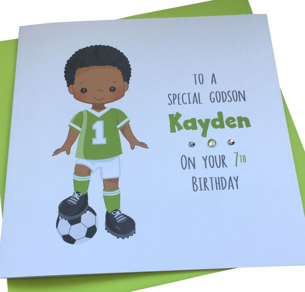 Footballer Birthday Card (green kit)
