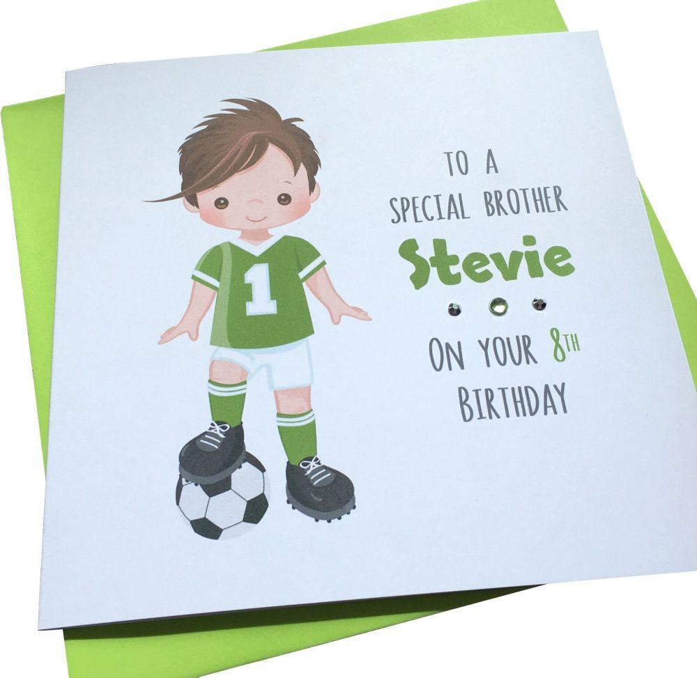 Footballer Birthday Card (green kit/brown hair)