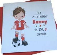 Footballer Birthday Card (red kit / brown hair)