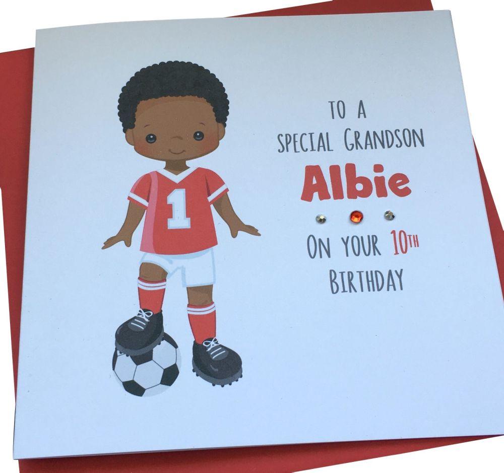 Footballer Birthday Card (red kit)