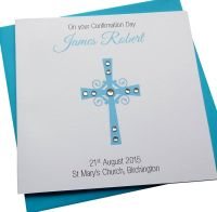 Cross Design Card - Pink or Blue