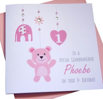 Baby Girls 1st Birthday Card