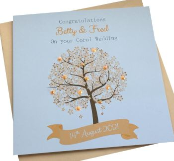 Coral / 35th Wedding Anniversary Tree Card