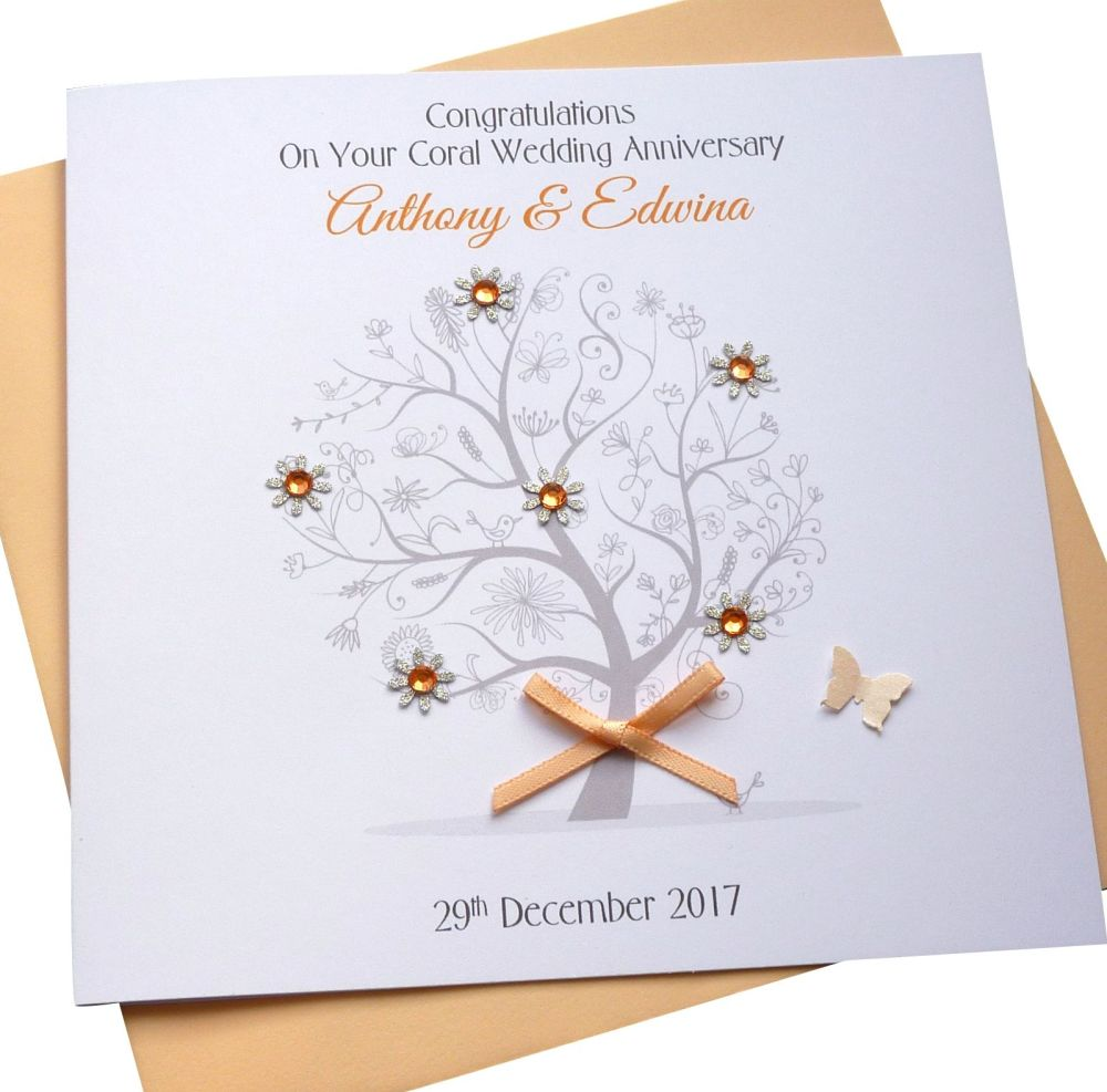 Coral / 35th Wedding Anniversary Tree Card