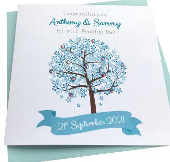 Wedding/ Engagement/Anniversary  Card- Blue Blossom Tree