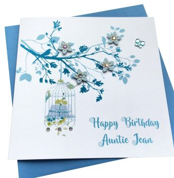 Blue Birdcage and blossom Tree Card