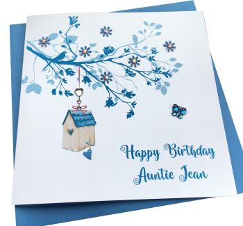Blue Bird House and blossom Tree Card- any occasion