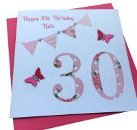 Floral Bunting Birthday Card - any age