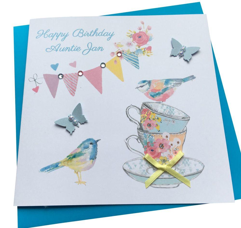 Vintage Bunting & Birds Birthday Card