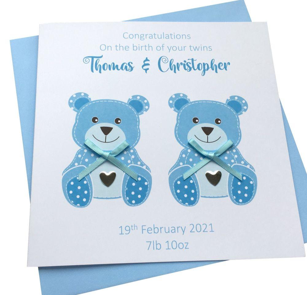 New Baby Boy Twins Teddy Card