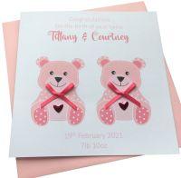 New Baby Girl Twins Teddy Card