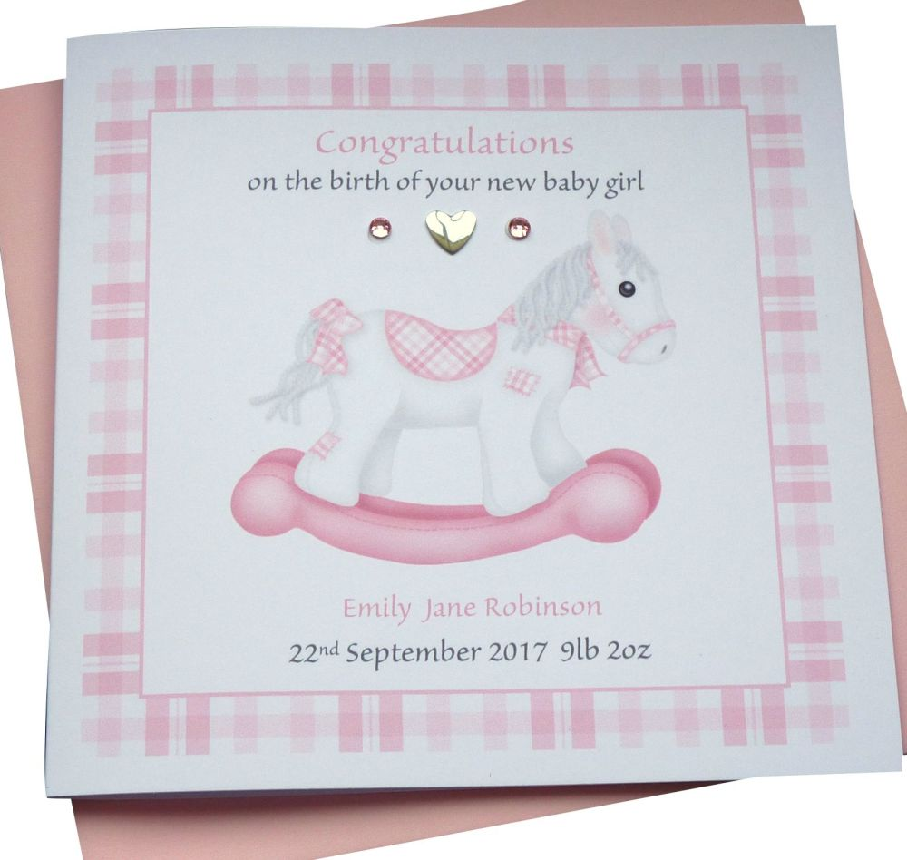 New Baby Girl Rocking Horse Card