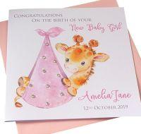 New Baby Girl Giraffe Card (3)