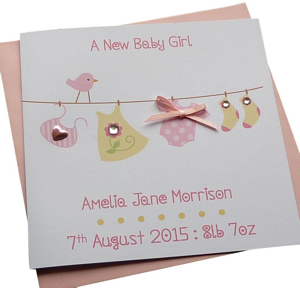 New Baby Girl Washing Line Card